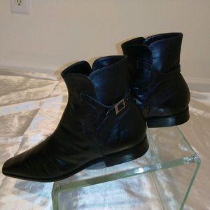 Emporio Armani Black Leather Ankle Boots